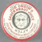 Click here to enlarge image and see more about item AF27: Vintage Joe Grein's Sauerkraut Juice Pocket Mirror