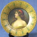 Click here to enlarge image and see more about item AF34: Antique Royal Saxony Tin Art Plate of Beautiful Woman