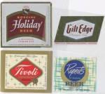 Click here to enlarge image and see more about item AF85: Vintage Beer Labels Set of 4