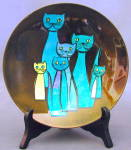 Click here to enlarge image and see more about item APR51: Vintage Steinbock Email Enamel Cat Dish