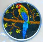 Click here to enlarge image and see more about item APR66: Vintage Butterfly Wing Parrot Picture