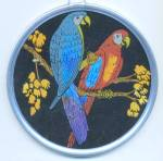 Click here to enlarge image and see more about item APR68: Vintage Butterfly Wing Parrot Picture