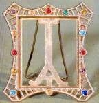 Vintage Miniature Jeweled Frame Easel Back