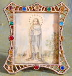 Vintage Miniature Jeweled Frame W/ Mary Easel Back