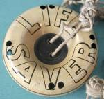 Click here to enlarge image and see more about item ASP71: Vintage Life Saver Metal Whistle