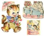 Vintage Birthday Card: Assortated Cats