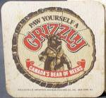 Click here to enlarge image and see more about item BREWAD51: Vintage Beer Coaster Paw Yourself A Grizzly