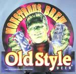 Click here to enlarge image and see more about item BREWAD53: Monstrous Brew Old Style Beer Frankenstein Sign