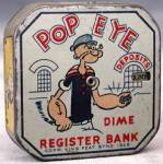 Click here to enlarge image and see more about item BVG1: Vintage Popeye Metal Bank