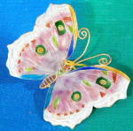 Pink Enamel Butterfly Christmas Ornament