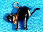 Click here to enlarge image and see more about item CCD3: Vintage Black Plastic Cat Charm
