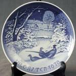 Click here to enlarge image and see more about item CDCP39:  Royal Copenhagen Pheasents Christmas Plate