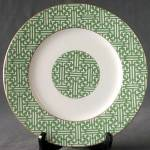 Click here to enlarge image and see more about item CDS42: Fretwork-Green (Shanghai) Coalport China Plate