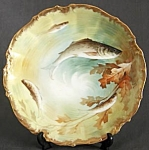 Click here to enlarge image and see more about item CDVHP63: Vintage Limoges Hand Painted & Signed Fish Plate