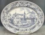 Click here to enlarge image and see more about item CDVJB3: Vintage Blue Johnson Brothers Historic America Platter