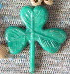 Click here to enlarge image and see more about item CHF1: Vintage Celluloid Clover Charm