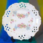 Vintage Reticulated Plate W/ Pink Flowers & Blue Bows