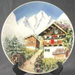 Click here to enlarge image and see more about item CHPD13: Vintage 3D Mountain Scene Plate