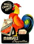 Click here to enlarge image and see more about item CIG20: Vintage Marvels Cigarettes Rooster Cardboard Sign