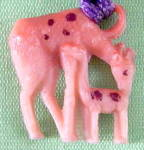 Vintage Celluloid Mama & Baby Giraffe  Charm
