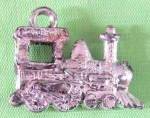 Click here to enlarge image and see more about item CMU6: Vintage Silver Plastic Train Charm