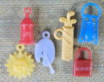 Click here to enlarge image and see more about item CO32: Vintage Plastic Charms