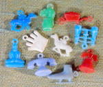 Click here to enlarge image and see more about item CO36: Vintage Plastic Mix Charms Set Of 10