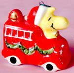Peanuts Woodstock On Fire Engine Ornament