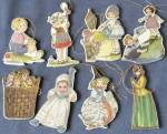 Click here to enlarge image and see more about item COFP22: Cardboard Nursery Rhyme Christmas Ornaments Set of 8