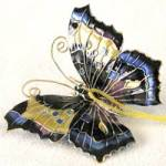 Click here to enlarge image and see more about item COI15: Blue Enamel Butterfly Christmas Ornament