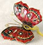 Click here to enlarge image and see more about item COI4: Red Enamel Butterfly Christmas Ornament