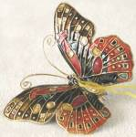 Orange Enamel Butterfly Christmas Ornament