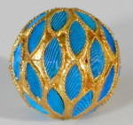 Click here to enlarge image and see more about item CV77: Vintage Chinese Kingfisher Feather Bead