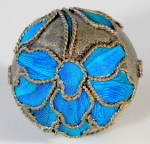 Click here to enlarge image and see more about item CV78: Vintage Chinese Kingfisher Feather Bead