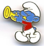 Click here to enlarge image and see more about item CVSM18: Vintage Smurf Playing a Horn Pin
