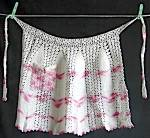 Click here to enlarge image and see more about item CWVAP1: Vintage White and Pink crocheted Apron