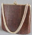 Click here to enlarge image and see more about item CWVHBP21: Vintage Brown Snake Skin Purse