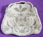 Click here to enlarge image and see more about item CWVHP24: Vintage White & Silver Beaded Fruit Design Hand Bag