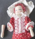Click to view larger image of Vintage Miniature Wooden Jointed Handcrafted Doll (Image2)