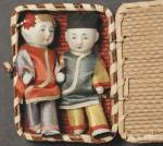 Click here to enlarge image and see more about item DOLL5: Vintage Pair Chinese Dolls in Basket