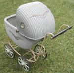 Click here to enlarge image and see more about item DOLLFGEN7: Vintage Wicker Doll Buggy or Carriage