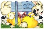 Click here to enlarge image and see more about item EVCP4: Vintage Easter Card: Bunny on Telephone & Fuzzy Bunny