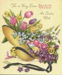 Click here to enlarge image and see more about item EVCP5: Vintage Easter Card: Flowers in Hat & Children