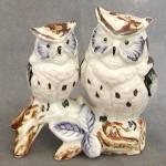 Click here to enlarge image and see more about item FIGA6: Vintage Blue & Brown China Owls