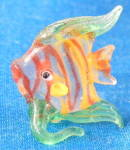 Vintage Clear Green Yellow Orange Glass Fish