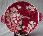Sterling Silver Overlay On Ruby Red Glass Handled Plate