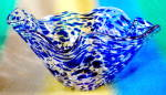 Click here to enlarge image and see more about item GBO48: Vintage Cobalt & Clear Spotted Irregular Glass Bowl