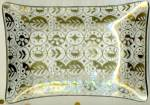Click here to enlarge image and see more about item GBO507: Vintage Glass Gold Clear Glass Dish