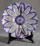 Cobalt and Clear Cut Glass Fruit Plate