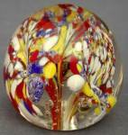 Click here to enlarge image and see more about item GLG47: Vintage Red Yellow White and Blue Glass Paperweight